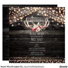 Rustic Wood & Lights Floral Antlers Invitation