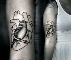 Bird and Heart tattoo