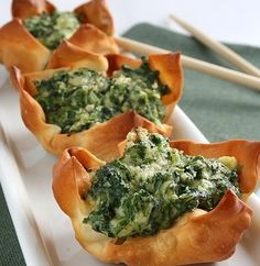 New Year's Eve Appetizer: Ricotta Spinach Cups