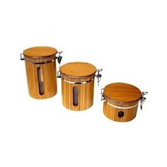 Food Storage Bamboo Kitchen Canisters Jar Set Airtight Coffee Tea Lid Wooden NEW