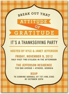 Thanksgiving Party Invitations Gratitude Plaque - Front : Cream