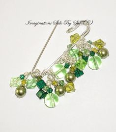 Pin Green crystal glass pearls Handmade Cluster Safety Pin