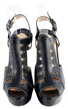 661883ad465b Black   Leather Volnay 140 Sandals Heels Platforms