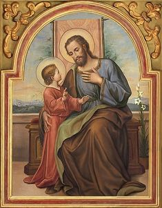 Prayer to St. Joseph: To you, O blessed Joseph, do we come in our tribulation, and having implored the help of your most holy spouse, we confidently invoke your patronage also. Through that charity which bound you to the Immaculate Virgin Mother of God and through the paternal love with which you embraced the Child Jesus, we humbly beg you graciously to regard the inheritance which Jesus Christ has purchased by his Blood, and with your power and strength to aid us in our necessities. O m....
