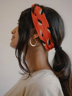 SOLSTICE BANDANA | Sunday / Monday Hilma Af Klint, Bandana Hairstyles, Spring Hairstyles, Red Scarves, White Jumpsuit, Bandana Print, Sunday Monday, Black And White, Lady
