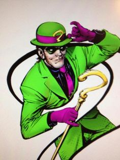Edward Nigma is a villain obsessed with riddles, puzzles, and brain teasers, who took the alias of the Riddler to commit crimes. Riddler frequently tries to outsmart Gotham's hero Batman, but is always defeated by the Dark Knight. The Riddler, Joker Art, Batman Art, Batman Comics, Batman Robin, Batgirl, Catwoman, Le Sphinx, Poison Ivy Batman