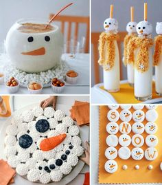 Snowman marshmallows (love this idea using a food coloring pen), eggnog bowl (they painted with chocolate, but I think I'll use vinyl like I did for my monster pedestal candy dishes), pull-a-part cupcakes and milk glasses from Better Homes and Gardens. Christmas Goodies, Christmas Snowman, Christmas Treats, Holiday Treats, Winter Christmas, Christmas Holidays, Winter Fun, Xmas, Winter Ideas