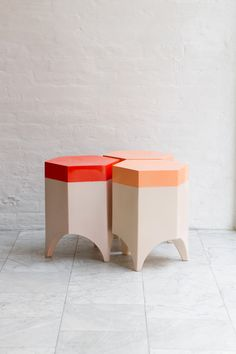 Kieran Kinsella. Wood and ceramic stools and side tables, hand-carved in  the Hudson Valley.