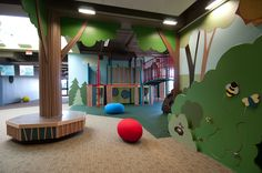 Playing in the woods Springfield, IL - kids would remember that climbing area forever like when I was little @ Melissa williams Kindergarten Interior, Kindergarten Design, Kids Play Spaces, Kids Indoor Playground, Kids Library, Church Nursery, Kids Zone, Nursery Design, School Design