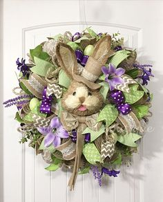 Easter Wreath, Floral Easter Wreath, Easter Rabbit Wreath, Easter Bunny Wreath, Mesh Easter Wreath, Easter Decor, Spring Decor, Mesh Spring by CharmingBarnBoutique on Etsy