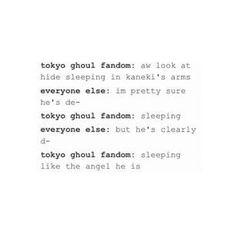 He IS sleeping. Tokyo Ghoul