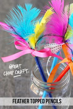 Perfect summer camp craft for the kids!  Feather Topped Pencils that take less than 15 minutes to make.  Tutorial at livelaughrowe.com