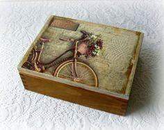 Caja de té madera, caja de joyería, caja de decoupage, caja de estilo vintage, vintage bicicleta
