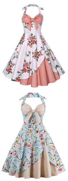 Halter Floral Vintage Dress