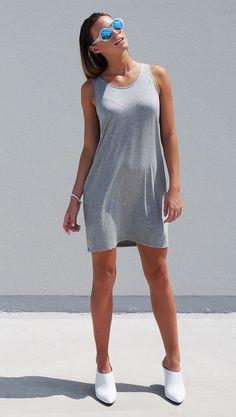TGB Eco Bamboo Clothing - Grey Venus Bamboo Short Dress