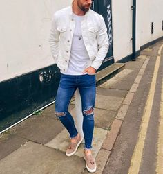 White denim jacket and ripped jeans by @chezrust [ http://ift.tt/1f8LY65 ]