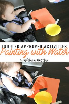 Painting with Water- Indoor and Outdoor Toddler Approved Activities. Perfect for 1 year old and # indoor activities for 1 year old Indoor Toddler Activities for Months - Little Learning Club Activities For One Year Olds, Nanny Activities, Indoor Activities For Toddlers, Toddler Learning Activities, Montessori Activities, Infant Activities, 1year Old Activities, 18 Month Activities, Parenting Toddlers