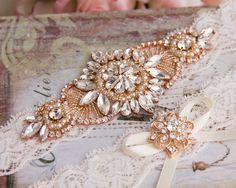 Rose Gold Wedding Garter set, Ivory Bridal Garter set, Ivory Lace Garter set…