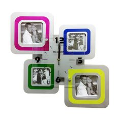 Clock with 4 Photo Frames White - Creative Motion Industries