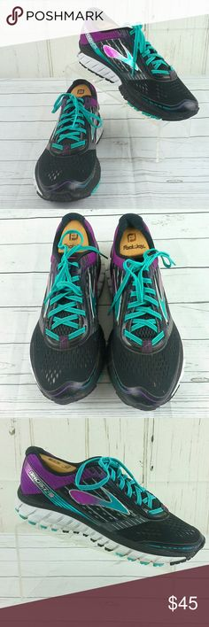74a64427f57 Brooks Ghost 9 Running Shoes Blk Grn Purple 8.5D Brooks Ghost 9 Women s  Running Athletic