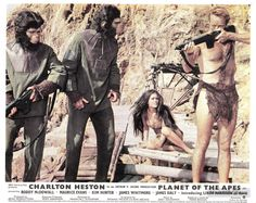 Lucius (Lou Wagner), Cornelius (Roddy McDowall), Nova (Linda Harrison), & Taylor (Charlton Heston) - Planet of the Apes (1968)