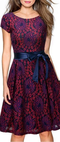 Pretty Vintage Floral Lace Contrast Bow Cocktail Evening Dress! More at  http://www.cutedresses.co/go/Vintage-Cocktail-Evening-Dress
