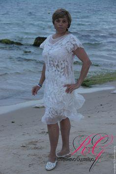 Купить Платье валяное  White flowers - цветочный, нуно-фелтинг, одежда для женщин, одежда из войлока