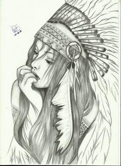 Facing the world Pencil Art Drawings, Art Drawings Sketches, Tattoo Sketches, Tattoo Drawings, Kunst Tattoos, Body Art Tattoos, Sleeve Tattoos, Native Art, Native American Art
