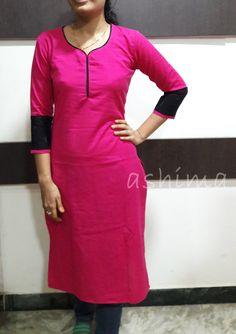 Cotton With Ikkat Border- Price Chudidhar Designs, Chudidhar Neck Designs, Salwar Neck Designs, Kurta Neck Design, Kurta Designs Women, Dress Neck Designs, Blouse Designs, Printed Kurti Designs, Kurta Patterns