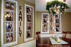 recycle window frames, crafts, home decor, repurposing upcycling, Recycle window frames by placing pictures of your family Country Decor Diy, Photo Wall, Recycled Window, Decor, Gallery Wall, Frame, Wall Art Decor, Wall, Creative Decor