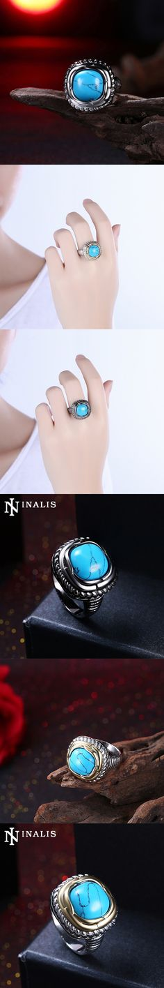 INALIS 2017 Natural Big Blue Turquoises Stone Ring White Gold/Black Gold Color Vintage Rings for Women Fashion Costume Jewelry