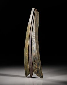 """Stoney Lamar ~ """"Standing in the Forrest"""" ~ Wood Sculpture 65"""" x 16"""" x 8"""" - Ash, Steel and Milk paint."""