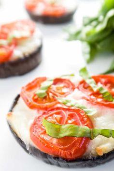 Eggplant Pizza - Margherita Style (Low Carb, Gluten-free) - This easy, low carb eggplant pizza recipe is bursting with aromatic garlic, cherry tomatoes, gooey mozzarella