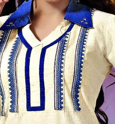 KHADI COTTON COLLAR NECK OFFICE WEAR KURTI TO PAIR WITH LEGGINGS | OFF WHITE KHADI KURTI WITH BLUE DETAILINGS TO WEAR WITH LEGGINGS | kurti wiht embroiderd neck and collar neck pattern
