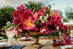 Bougainvillea Estate Wedding by Melideos Spanish Style Weddings, Spanish Wedding, Wedding Table Centerpieces, Flower Centerpieces, Wedding Decorations, Wedding Ideas, Palm Springs, Bougainvillea Wedding, Church Wedding Flowers