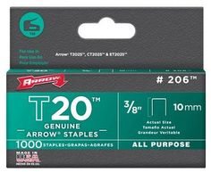 """5 Pack Arrow Fastener 206 T20 3/8"""" Flat Crown All Purpose Staples 1000 per Package by Arrow. $10.31. For upholstery, insulation, weather stripping and more. Fits T2025 staple gun tacker. 1000 per box."""