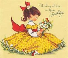 12 best vintage birthday images on pinterest vintage cards vintage birthday card thinking of you on your birthday brown haired girl yellow dress daisies butterfly m4hsunfo