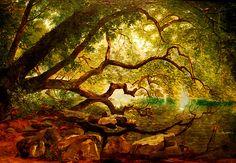 "The National Art Gallery (Washington DC). ""An Ilex Tree on Lake Albano"" by John Kensett (1846)."