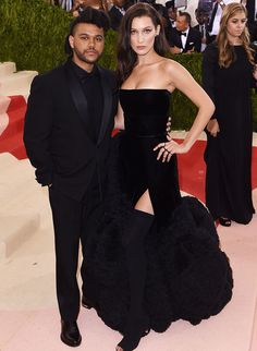 The youngest Hadid sibling made a rare appearance with long-term boyfriend Abel Tesfaye AKA The Weeknd, in all-black Givenchy. #TopshopStyle #MetGala