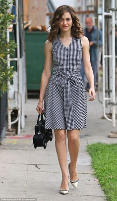 Shame-less: Emmy Rossum had nothing to be ashamed of when she stepped out for some errands on Wednesday in West Hollywood, California Simple Dresses, Cute Dresses, Beautiful Dresses, Casual Dresses, Short Dresses, Fashion Dresses, Girls Dresses, Summer Dresses, Kurta Designs