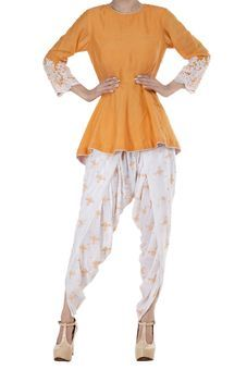 Apricot Peplum Top With White Dhoti Salwar by The House of Gyans, Womens Suits Diwali, Indian Wear, Suits For Women, Festive, Ethnic, Peplum, Essentials, Comfy, Modern