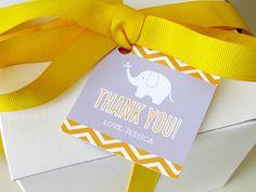 Elephant Baby Shower Favor Tags - Chevron - Elephant Printable - Printable Party - Twins - Sprinkle - Boy - Girl - Gift Tag - DIY