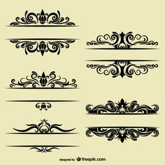 Vintage set of text dividers Carving Designs, Stencil Designs, Alphonse Mucha, Vintage Logo, Cricut Monogram, Fancy Letters, Abstract Pictures, Door Murals, Logo Design Inspiration