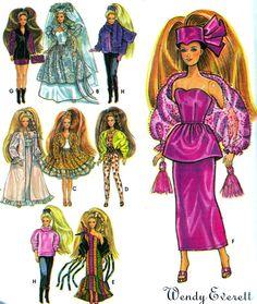 "Sewing Pattern Simplicity 7952 Barbie Clothes, Peplum Dress, Wedding Dress, Nightgown, Skirt, Jacket, Jumpsuit, Leggings, Gown 11 1/2"" Doll. $7.00, via Etsy."
