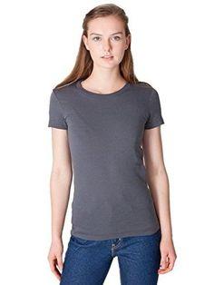 American Apparel Women's Fine Jersey Short Sleeve Women's's T Size M Asphalt, Size: Medium, Black