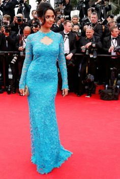 Mallika Sherawat was beautiful in a lovely blue lace Emilio Pucci gown at 'Grace of Monaco' premiere. #Style #Bollywood #Fashion #Beauty #Cannes2014