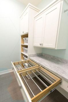 41 Gorgeous Inspiring Laundry Cabinets Ideas to Consider 39 - Room Design Indoor Clothes Drying Rack, Wall Drying Rack, Laundry Room Drying Rack, Drying Rack Laundry, Laundry Room Storage, Laundry Room Design, Laundry Rooms, Armoire, Laundry Room Cabinets
