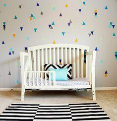 Full Reveal - Parker's Tribal Triangle Bedroom - Trianlge vinyl decal nursery wall -