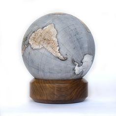 Mini Desk Globe from Bellerby & Co. Floor Globe, Desk Globe, Cool Office Desk, Painted Globe, Hand Painted, Mini Desk, Office Artwork, World Globes, Cartography