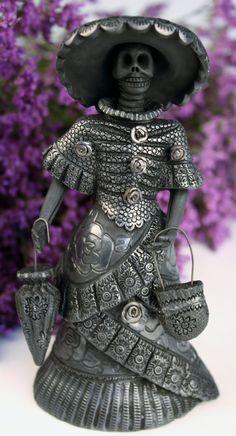 Oaxaca Black Pottery Small Catrina Magdalena Pedro Martinez
